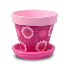 Pink Flower Pot With Polka Dots
