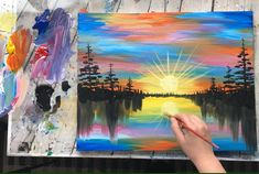 Colorful sunset landscape acrylic painting, step by step tutorial, simple painting for beginners - Malerei Kunst Simple Canvas Paintings, Small Canvas Art, Diy Canvas Art, Easy Paintings, Acrylic Painting Canvas, Acrylic Art, Colorful Paintings, Paintings Online, Canvas Ideas