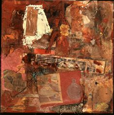 Robert Rauschenburg - c.1953, Untitled. Combine: oil, printed reproductions, paper, wood, fabric, and vinyl on linen (35.6 x 35.6 cm)