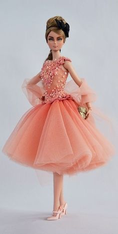 Barbie inorange net frock