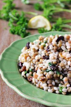 Lentil Barley Salad with Lemon Vinaigrette