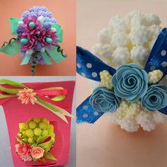 Uova con mimose di confetti  con decorazione fatta con rose di carta