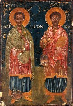 Saint Cosmas and Saint Damian Byzantine Icons, Art Uk, Orthodox Icons, Saints, Religion, Community, Bible Truth, Painting, Angels