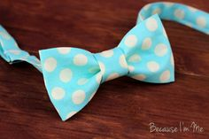 Mens Bow Tie -Cream and Light Turquoise Blue Large Dot Woven Cotton Bow Tie, bowtie for teens and men