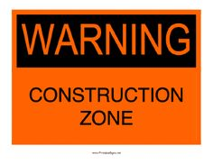 This printable sign warns of a construction zone in this place. Free to download and print