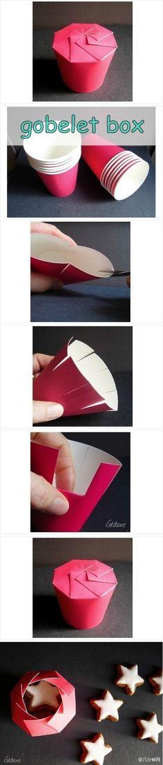 réaliser une petite boite à partir d'un gobelet en carton