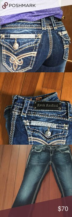 26 Rock Revivals These pants are in very good condition, slight wear on cuffs. No stains or tears. 26/34. Rock Revival Pants Boot Cut & Flare