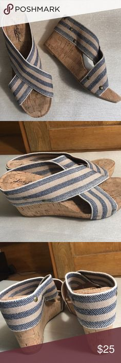 NEVER WORN LUCKY BRAND CORK WEDGE HEELS/ELASTIC These super fun, super cute Lucky Brand sandals are ready for Spring.  The straps are navy/tan/white.  Size 8 1/2. (03127518) Lucky Brand Shoes Sandals