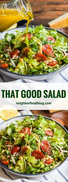 Salad recipes - That Good Salad earned its name by being the talk of every potluck and dinner party With bacon, Parmesan, tomatoes, and a lemon garlic dressing, it's always a hit! Easy Salads, Healthy Salad Recipes, Lettuce Salad Recipes, Salad With Romaine Lettuce, Dinner Salad Recipes, Simple Salad Recipes, Dinner Salads, Lettuce Ideas, Smoothie Recipes
