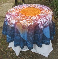 """Batik Tablecloth """" Tropical Sunset"""" round on Polyester, looking at it makes my heart sing. Timeless and calm yet energetic feel. by goldphinbatik on Etsy Timeless Beauty, Sell On Etsy, Lilac, Burgundy, Tropical, Calm, Sunset, Heart, Fabric"""