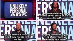 """When these personal ads just got more controversial by the second. 31 Times """"Mock The Week"""" Was Really Fucking Funny Comedy Memes, Comedy Tv, Mock Of The Week, Funny Picture Quotes, Funny Quotes, Humor Quotes, British Humor, British Comedy, Funny Images"""