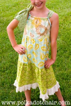 A fun twist on a pillowcase dress. Make it tiered with 3 different fabrics. Would be a cute easy Spring dress.   Full tutorial in post.