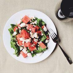 { salad time // spinach, arugula, ricotta, watermelon, truffle oil, balsamic vinegar, black salt } - @Irina Bond- #webstagram Black Truffle Salt, Truffle Oil, Balsamic Vinegar, Arugula, Bruschetta, Ricotta, Truffles, Olive Oil, Spinach