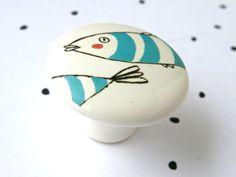 porcelain knob blue striped fish by kimslittlemonsters on Etsy