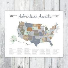 National Parks of the US Map, Explorer Wilderness Nursery Playroom Printable, Adventure Awaits, (16 x 20)