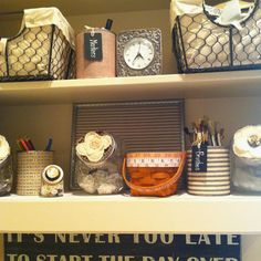 Organized my craft room used tin cans! Thank you pinterest!