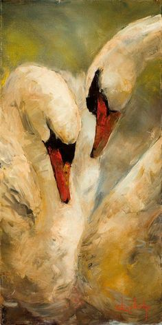 This painting, Intimacy by Stephen Shortridge, is so beautiful and serene it would look lovely in any room. Love the Citrine background - just b… Swan Painting, Painting Art, Peony Painting, Oil Painting Abstract, Animal Paintings, Paintings Of Angels, Original Paintings, Bird Art, Beautiful Paintings