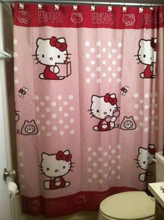 Love this Hello Kitty shower curtain! especially the red with the pink - makes it a bit more do-able for my tween daughter's bathroom! Hello Kitty Bathroom, Hello Kitty Rooms, Hello Kitty Kitchen, Here Kitty Kitty, Cat Bedroom, Bedroom Decor, Dream Bedroom, Kids Bedroom, Bedroom Ideas