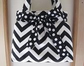 Chevron Shoulder Pleated Handbag, Purse Ipad Netbook Tote  in Black and White Made in USA - pinned by pin4etsy.com