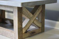 Concrete and Reclaimed Urban Wood Rustic Modern Coffee Table. 100% Handmade