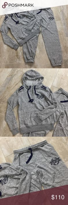 VS PINK gray outfit rare In good conditions. Quarter zip hoodie and matching campus pant. Size S oversized. Fits M . Speckled gray with navy blue details. PINK Victoria's Secret Tops Sweatshirts & Hoodies