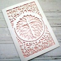 CHRISTENING LASER CUT CARDS CLA114 WHITE (CRYSTAL)