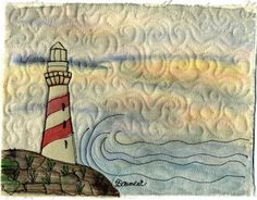 Baumcat has some lovely examples of free motion embroidery combined with fabric painting ...