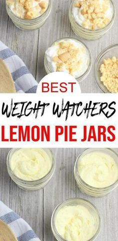 Check out these Weight Watchers Lemon Pie Jars. Easy Weight Watchers desserts re… Check out these Weight Watchers Lemon Pie Jars. Easy Weight Watchers desserts recipe that is quick and delish! Weight Watcher Desserts, Weight Watchers Snacks, Plats Weight Watchers, Weight Watcher Smoothies, Lemon Recipes, Ww Recipes, Low Calorie Recipes, Dessert Ww, Recipes