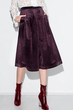 Velvet High Waisted Pockets Culotte