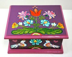 """Find out additional info on """"folk art"""". Look into our website. Painted Wooden Boxes, Painted Jewelry Boxes, Funky Painted Furniture, Art Furniture, Upholstered Furniture, Painting Wallpaper, Tole Painting, Painting On Wood, Wood Crafts"""