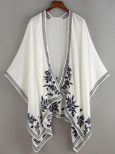 Kimono flor bordado abierto -blanco