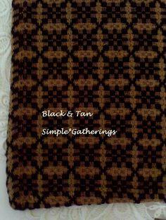 "BLACK ~ TAN CROSS BUCK WEAVE ~ WOVEN TABLE RUNNER 56.5"" x 14"" Cotton-Acrylic  #Unbranded"