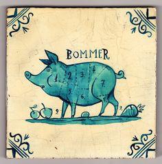 'Delftware' Tile - The Bommer Pig, via Flickr.