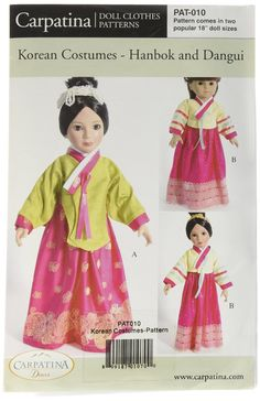 "Amazon.com: Pattern for Korean Costumes - Hanbok & Dangui - fits 18"" American Girl Dolls: Toys & Games"