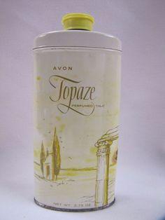 Topaze Perfumed Talc in Tin Vintage Avon 1950s  | eBay