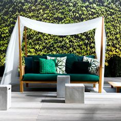 3 seater canopy fabric garden sofa INOUT 07 By Gervasoni design Paola Navone Canapé Design, Sofa Design, Interior Design, Modern Furniture, Furniture Design, Outdoor Furniture, Green Furniture, Outdoor Spaces, Outdoor Chairs
