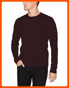 Calvin Klein Men's Merino Tipped Crew Neck Sweater, Dark Chestnut, LARGE - Mens world (*Amazon Partner-Link)