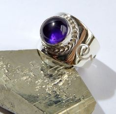 Amazing sterling silver ring with natural amethyst.Looks like a celtic. size-universal sterling silver weight If you want,I can make with another gems :-) Sterling Silver Rings, Silver Jewelry, Celtic, Amethyst, Rings For Men, Gemstones, Board, Etsy