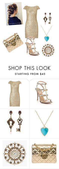 """Golden dinner party"" by facummings ❤ liked on Polyvore featuring Adrianna Papell, Valentino, Alcozer & J, Jennifer Meyer Jewelry, Chico's and Chanel"