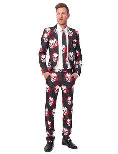 Abito classico teschi insanguinati Suitmeister™ Halloween uomo: Questo costume per Halloween da uomo consiste in un bell'abito dal taglio classico con giacca, pantaloni e cravatta (camicia e scarpe non incluse).L'intera tenuta è realizzata in...