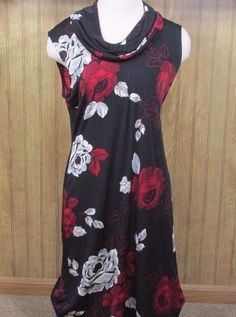 Expressions Women's Sleeveless Floral Black Red White Cowl Neck Dress Medium  #Expressions