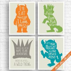 Where the Wild Things Are Inspired Quotes - Set of 4 Art Print (Unframed) (Carrot, Green, Gravel, Ocean on Fog) Peter Pan Prints by PeterPanPrints on Etsy https://www.etsy.com/se-en/listing/242846475/where-the-wild-things-are-inspired
