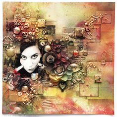 Mixed-media art, art journaling and scrapbooking by polish artist and teacher Anna Dabrowska aka Finnabair. Mixed Media Journal, Mixed Media Collage, Mixed Media Canvas, Collage Art, Prima Marketing, Mixed Media Scrapbooking, Scrapbooking Layouts, Altered Canvas, Altered Art