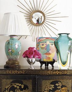 Love the mix and portrait painting, Chinoiserie Chic: Joe Nye - sunburst mirror with Chinoiserie Decorative Accessories, Home Accessories, Decorative Objects, Interior Exterior, Interior Design, Chinese Lamps, Kitsch, Condo Decorating, Decorating Ideas