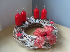 Adventní věnec Christmas Crafts, Christmas Decorations, Advent Candles, Birthday Candles, Candle Holders, Box, How To Make, Handmade, Ideas