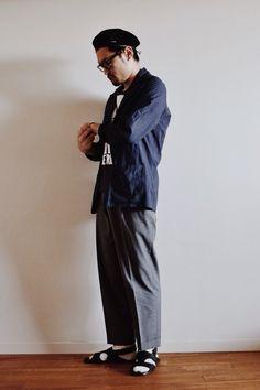 カンゴールのベレー帽のコーディネート。  http://www.lion-do.jp/mall/products/detail.php?product_id=35  #ファッション #帽子 #メンズ #コーディネート #コーデ #ハット #カンゴール #サンダル #ベレー #ベレー帽 #メガネ #眼鏡 #今日の服 #hat #kangol #beret #men #mens #coordinate #snap #japanese #japan #instafashion #look #olivergoldsmith #sandal