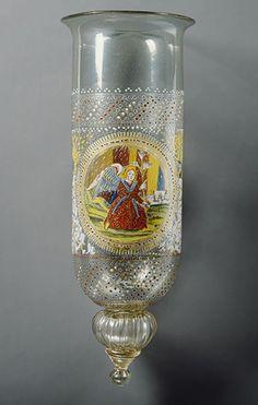 16th century Venitian enameled glass oil lamp