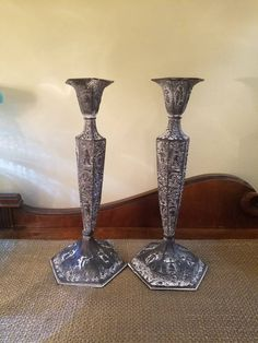 Updated Vintage Silverplate Repousse Candlesticks - Highly Ornate Repousse- Hand chased, Late - Early -Painted Black and White by HeatherhouseDesigns on Etsy Candle Holders, Etsy Shop, Refinishing Furniture, Repousse, Etsy, Candlesticks, Ornate, Vintage Silverplate, Vintage