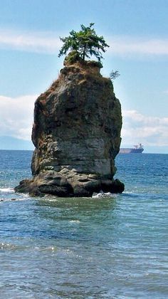 Siwash Rock as viewed from the walkway around Stanley Park, Vancouver, British Columbia. Photo taken by Gloria Bolton