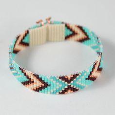 Annie Oakley Chevron Bead Loom Cuff Bracelet Native by PuebloAndCo